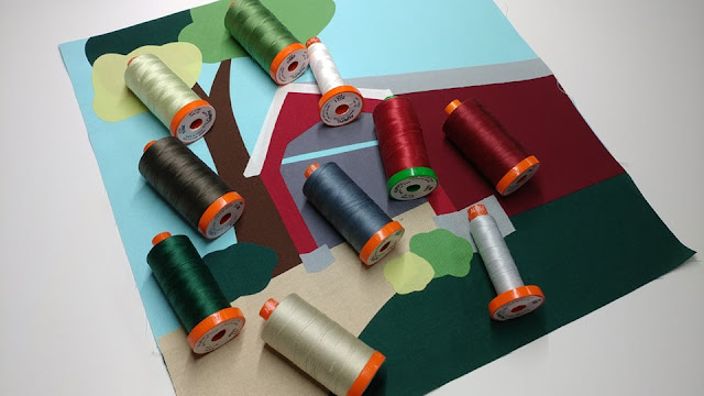 Covered bridge quilt block with matching Aurifil threads
