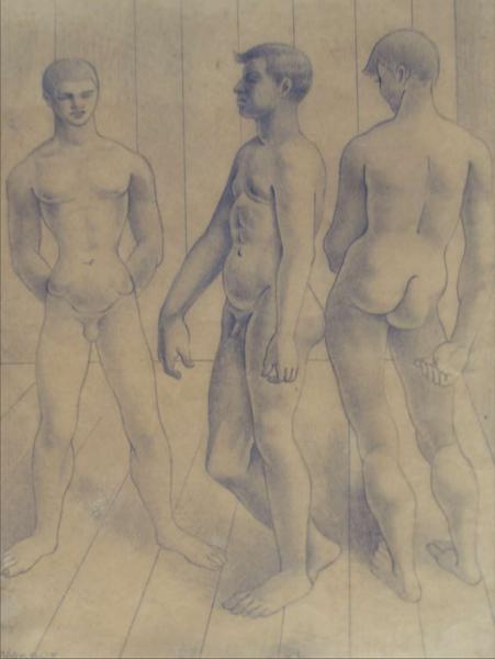 Dibujo: Jóvenes posando, 1938