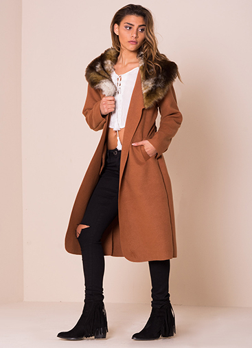 missy empire olyvia rust faux fur collar belted coat