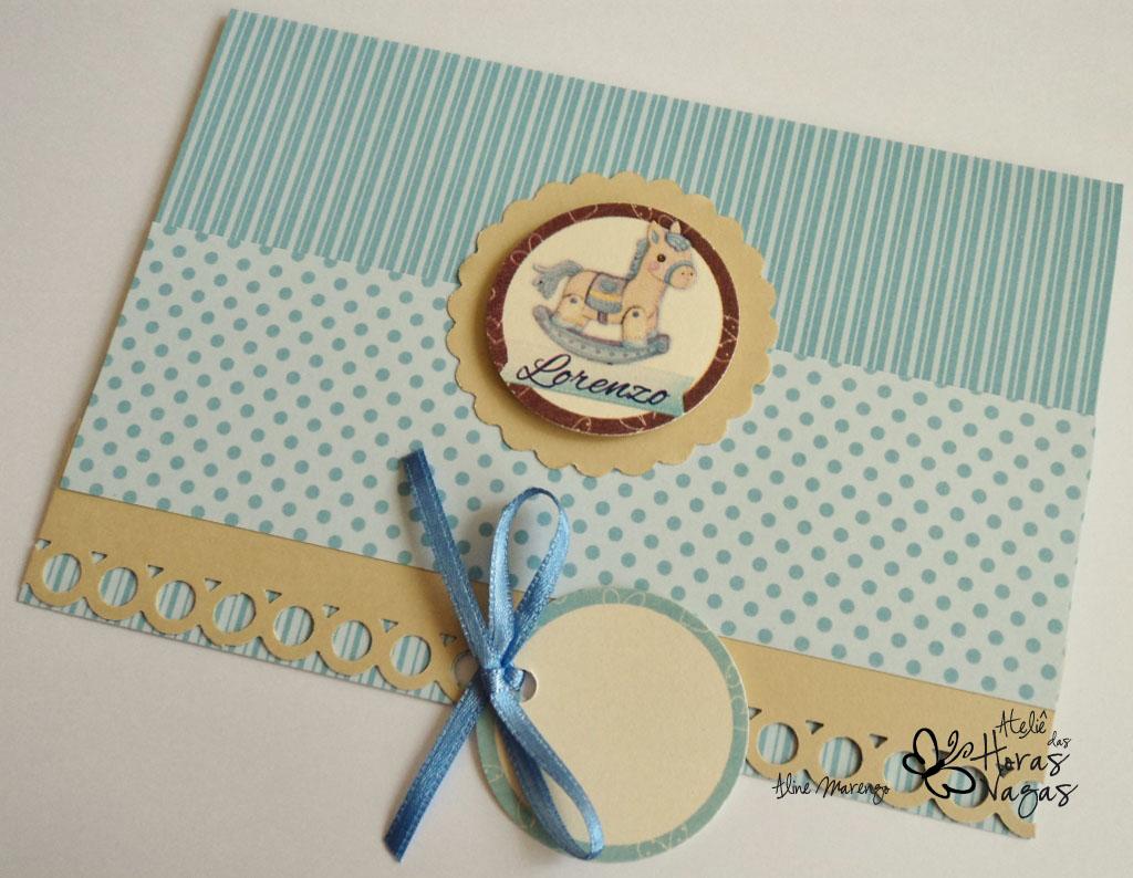 convite artesanal infantil aniversário 1 aninho menino cavalinho balanço azul creme marfim bege