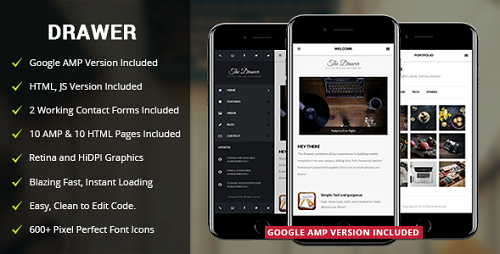 Drawer mobile retina html5 css3 and iwebapp - Info