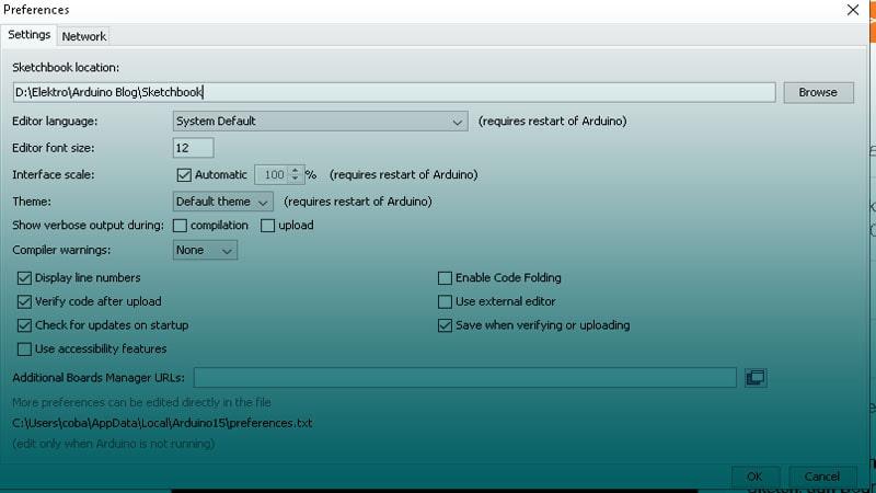 Ubah lokasi penyimpanan sketch di Arduino IDE