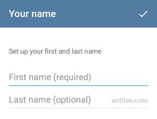 Pengisian form nama depan dan belakang - Cara Download Install & Daftar Telegram Untuk Android