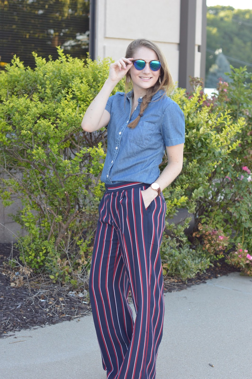 cute outfit ideas for work | work outfit ideas with items from banana republic | banana republic striped dress pants | outfit ideas with striped dress pants | a memory of us |