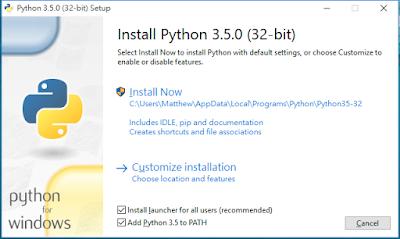 python 3.5.0 安裝畫面