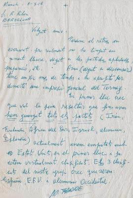 Primera página de la carta manuscrita de Miquel Farré a Ricard Ribera a Ángel Ribera en 1958