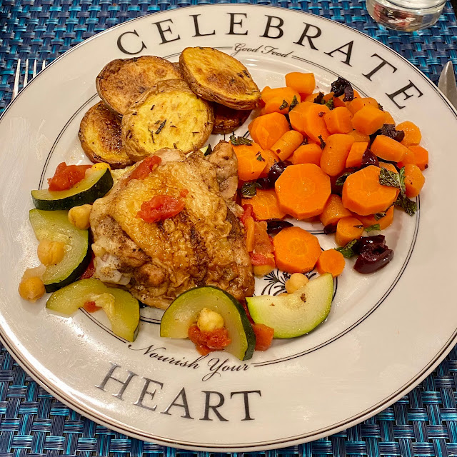 Moroccan-Style Chicken Thighs and Lemon-Rosemary Melting Potatoes with Spiced Braised Carrots Served Up on Celebrate