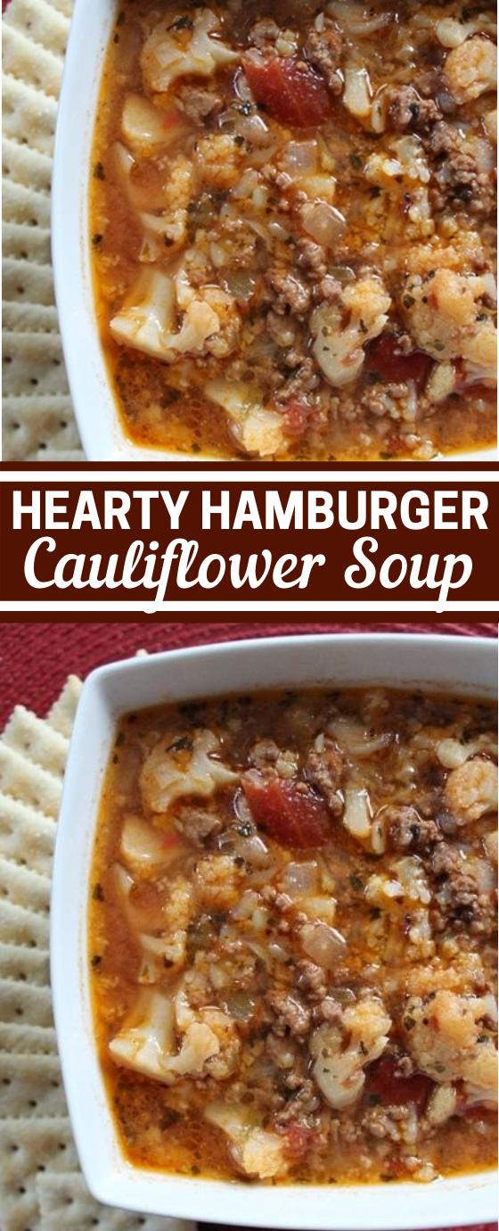 Hamburger Cauliflower Soup #keto #healthy #glutenfree #lowcarb #soup