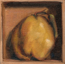 Oil painting of a quince inside a wooden box tipped on its side.