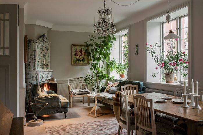 Charming living room with plants