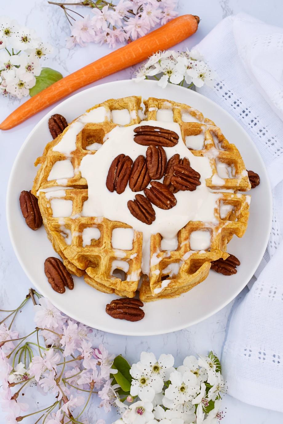 Carrot Cake Pecan Waffles