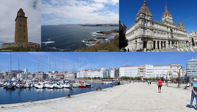 Viaje a Galicia: Torre de Hércules desde allí y desde el pulpo, ayuntamiento y puerto con edificios acristalados