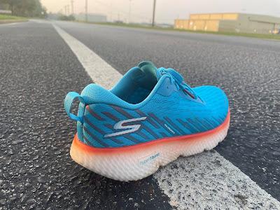 Rear portion of the Skechers Maxroad 5. S on heel. Bright blue.