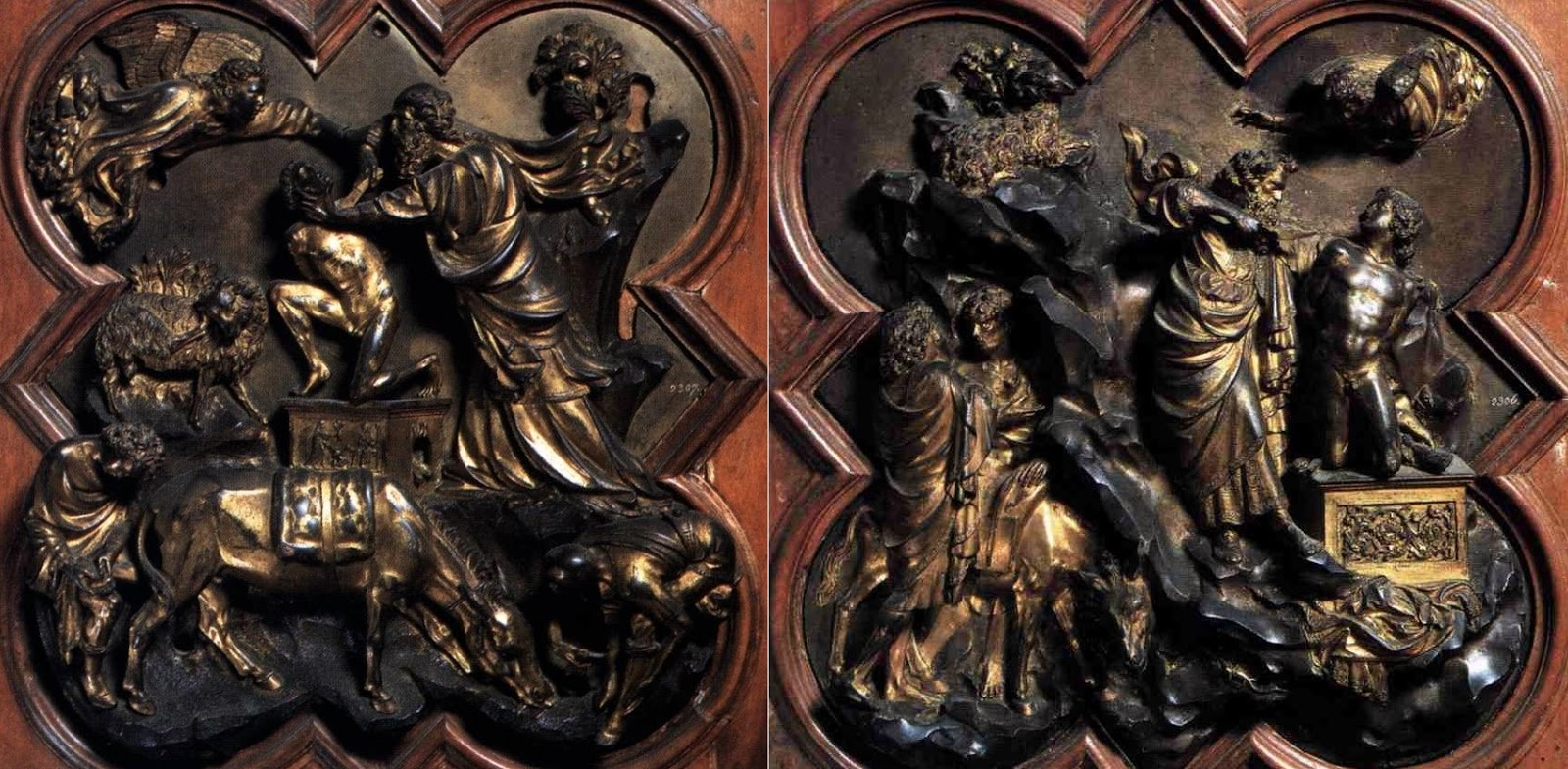 Sacrifice of Isaac reliefs made in 1401, by Lorenzo Ghiberti and Filippo Brunelleschi for Florence Baptistery