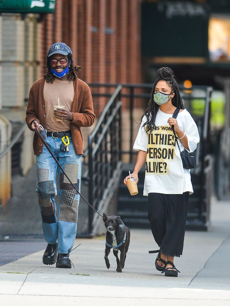 Tessa Thompson Clicked Outside with Her Dog in New York 16 Sep- 2020