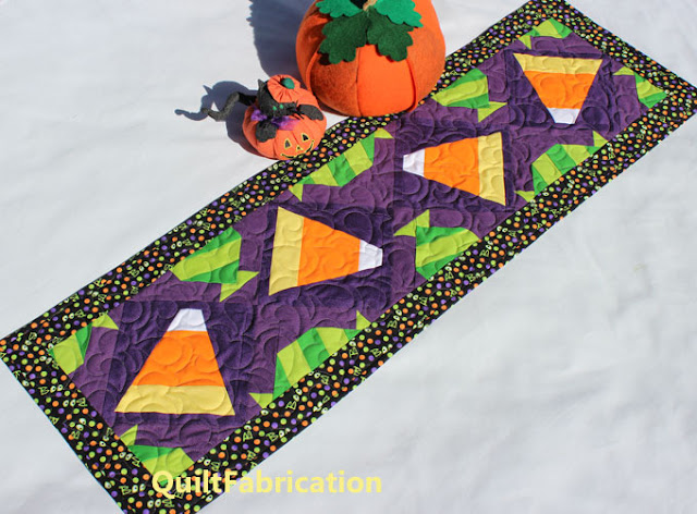 candy corn and green candy for a table runner by QuiltFabrication