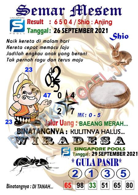 Syair Semar Mesem SGP Minggu 26-Sep-2021