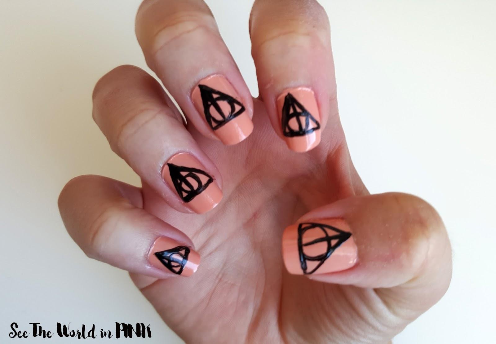 Manicure Monday - Harry Potter Deathly Hallows nail art ...