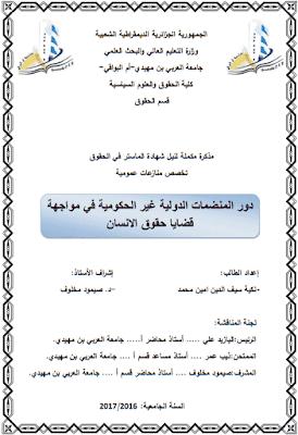 مذكرة ماستر: دور المنضمات الدولية غير الحكومية في مواجهة قضايا حقوق الإنسان PDF