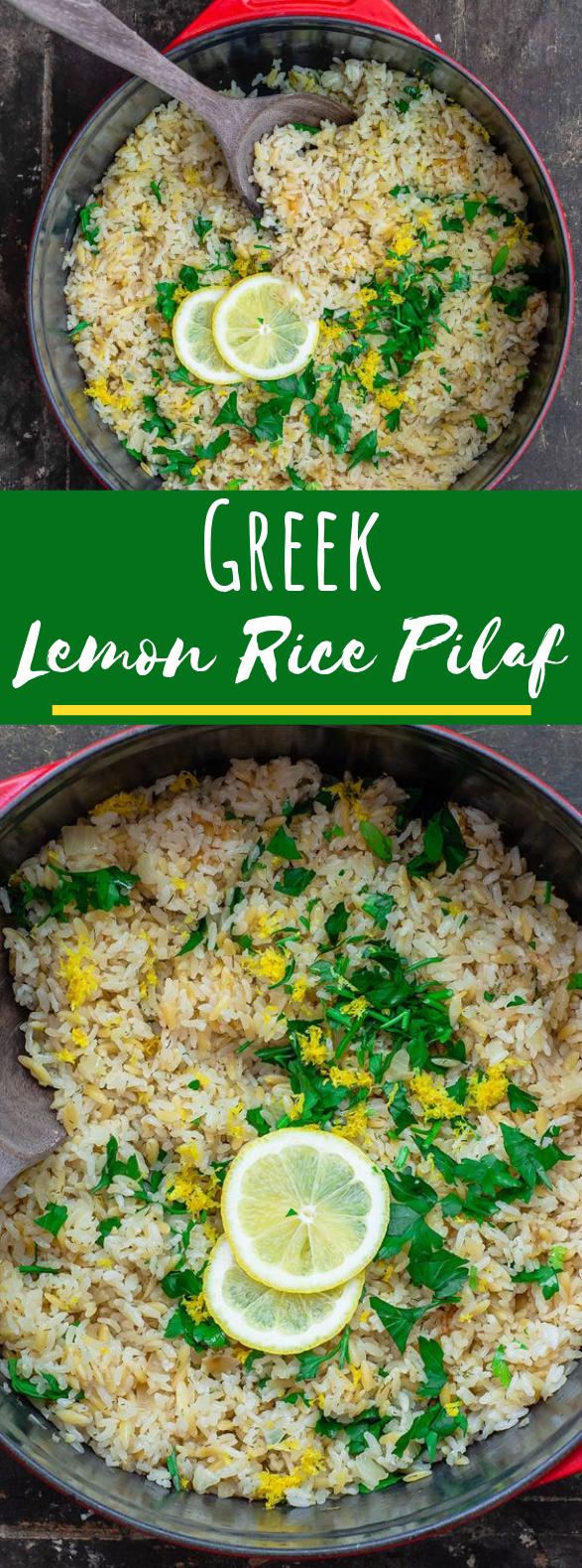 Greek Lemon Rice #vegetarian #vegan