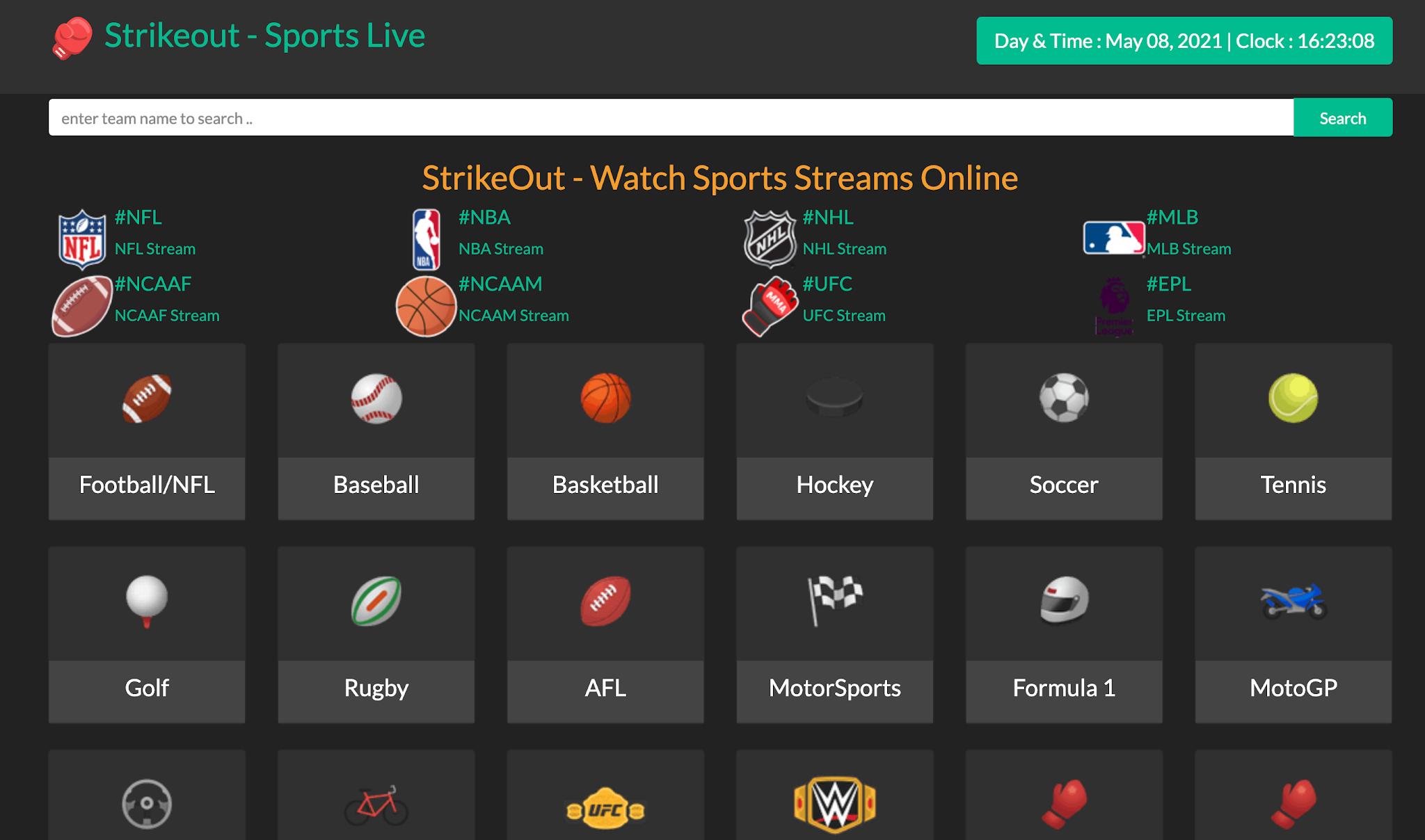 StrikeOut - Watch Sports Streams Online
