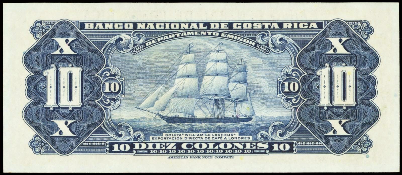 "Costa Rica money currency 10 Colones banknote 1950 Clipper Ship ""William Le Lacheur"""