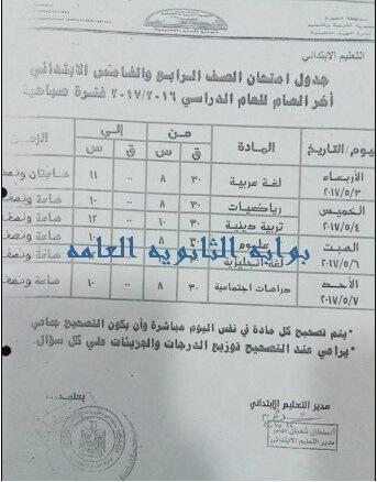 جدول امتحانات الصف الخامس الابتدائي الترم الثاني 2017 محافظة الجيزة