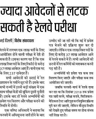 RRB Railway रेलवे परीक्षा अपडेट - 2 करोड़ से ज्यादा आवेदन आने से लटक सकती है रेलवे परीक्षा
