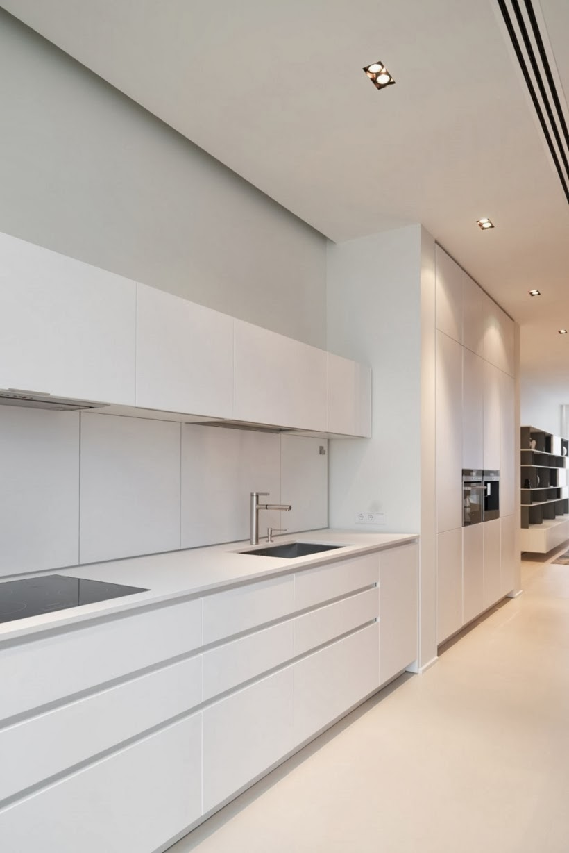 White kitchen in Minimalist modern apartment in Moscow
