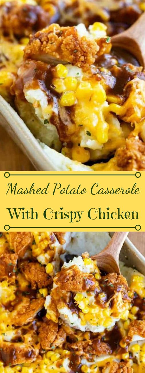 Mashed Potato Casserole with Crispy Chicken #dinner #casserole #potato #easy #family