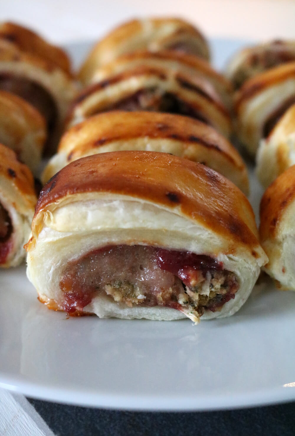 Cranberry and Stuffing Sausage Rolls   Hungry Little Bear