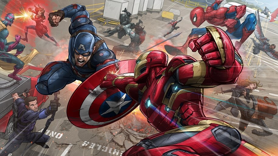 Iron Man Captain America Fight Marvel Comics 4K Wallpaper #4.2984