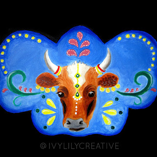 Bollywood cow acrylic painting