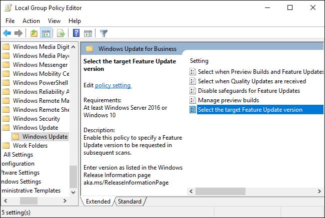 خيارات Windows Update for Business في نهج المجموعة.