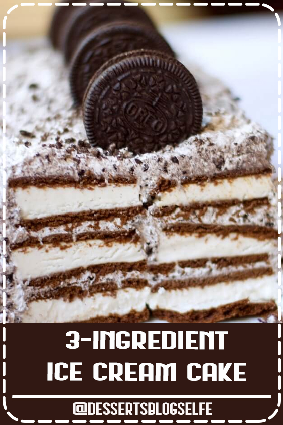 The easiest Oreo ice cream cake ever! SO amazing there are never any leftovers! #DessertsBlogSelfe #chocolate #oreo #desserts #recipes #icecream #cake #SummerDesserts #icecream