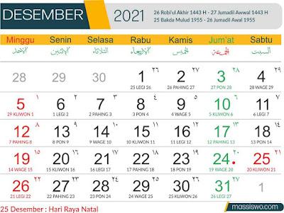 Template Kalender 2021 Bulan Desember