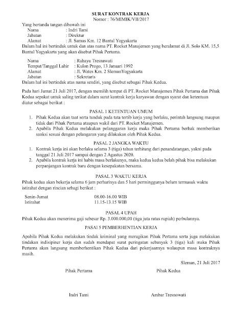 Contoh Surat Pernyataan Perjanjian (via: contohsurat.co)