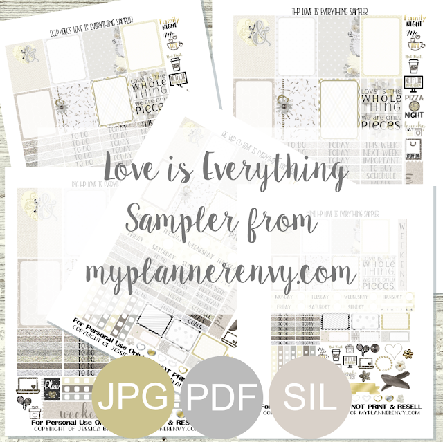 Free Printable Love Is Everything Sampler from myplannerenvy.com