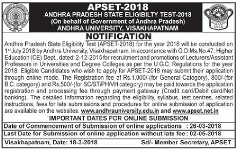 APSET 2018 Notification