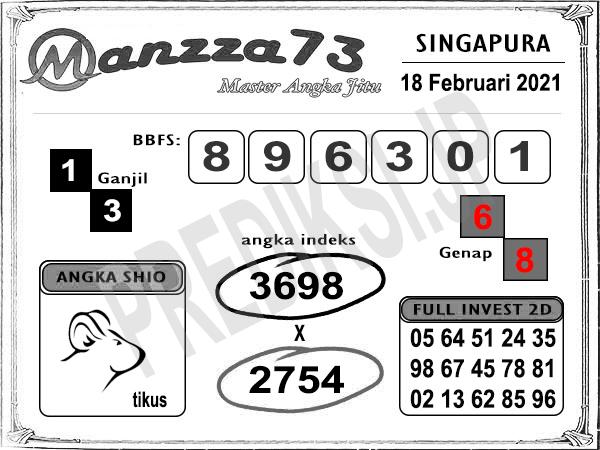 Prediksi Manzza73 SGP Kamis 18 Februari 2021