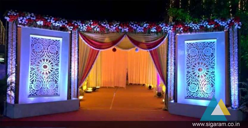 Wedding and reception indoor outdoor entrance arch decoration in the arch can be wrapped with greenery artificial or fresh flowers fabric or lights we also provide extra accessories such as beading small mirrors junglespirit Gallery