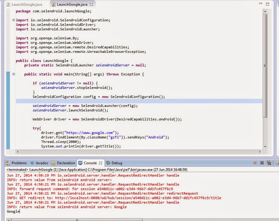 CrazzyGig: Selendroid to Test Mobile Web Applications on