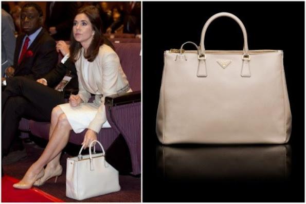 Crown Princess Mary and Prada Saffiano Cuir Double Bag