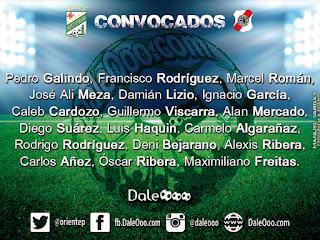 Convocados de Oriente Petrolero para enfrentar a Nacional Potosí - FEcha 21 Torneo Apertura 2017 - DaleOoo