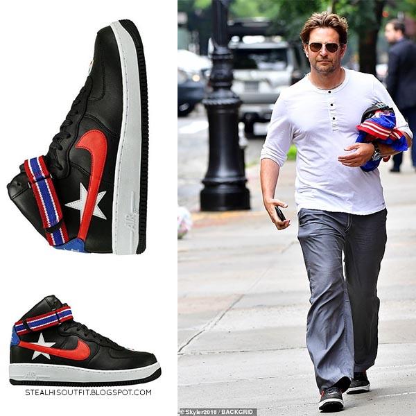 Bradley Cooper in black Nike Air Force 1 sneakers