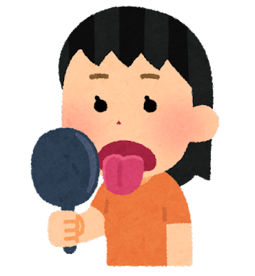 舌のチェックをする人のイラスト(女性)