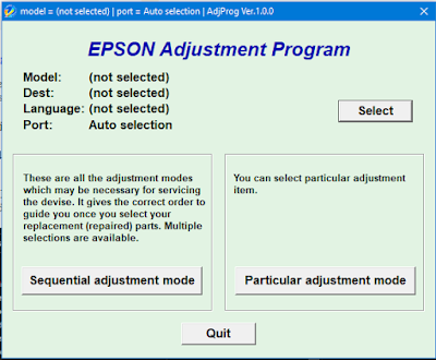 Tampilan Resetter EPSON Adjustment Program