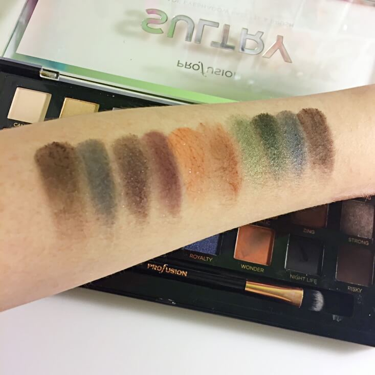 Profusion Sultry eyeshadow palette swatches
