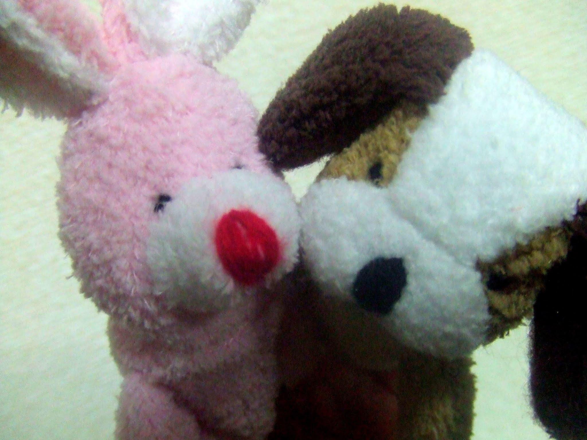 ハグする犬とうさぎのぬいぐるみの指人形です。いぬ ウサギ