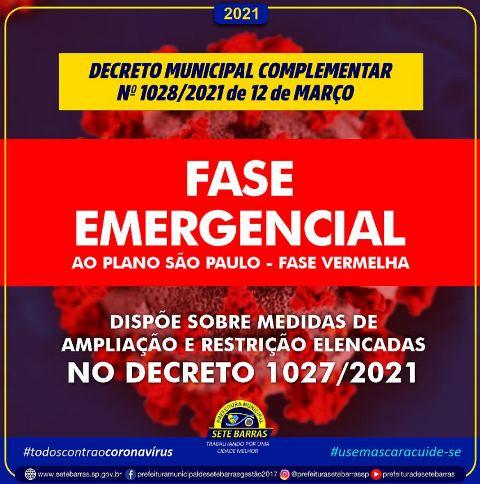 Decreto Municipal - Fase Emergencial em Sete Barras